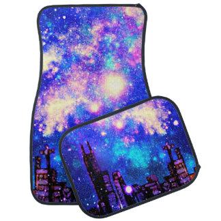 Comic Style City Skyline & Outer Space Car Mats Floor Mat