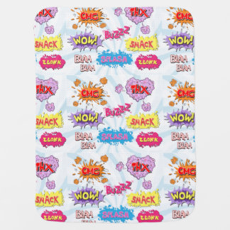 Comic Style Girly Super Hero Design Baby Blanket
