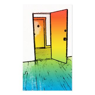 comic style open door : realtor business card templates
