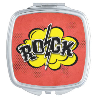 Comic style rock illustration compact mirrors