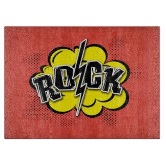 Comic style rock illustration cutting board