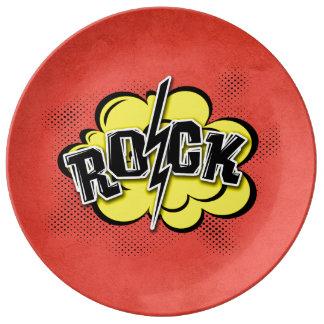 Comic style rock illustration plate