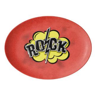 Comic style rock illustration porcelain serving platter