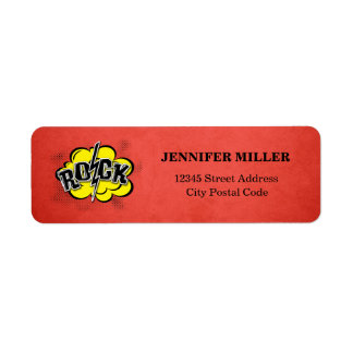 Comic style rock illustration return address label