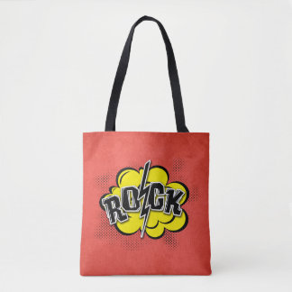 Comic style rock illustration tote bag