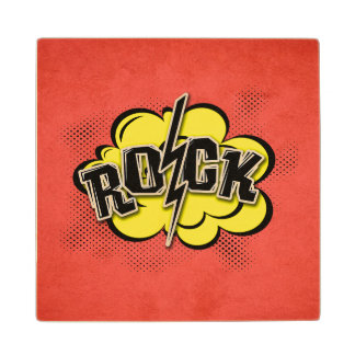 Comic style rock illustration wood coaster