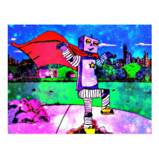 Comic Style Superhero Robot from Outer Space! Postcard