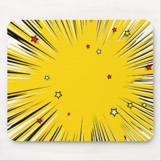 Comic Style Yellow Sunburst with Red Stars Mouse Pad