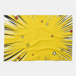 Comic Style Yellow Sunburst with Red Stars Tea Towel