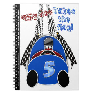 Comic Vintage Race Car - Personalized Spiral Notebook