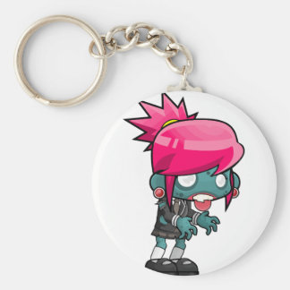 Comic Woman Zombie Basic Round Button Key Ring
