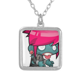 Comic Woman Zombie Silver Plated Necklace
