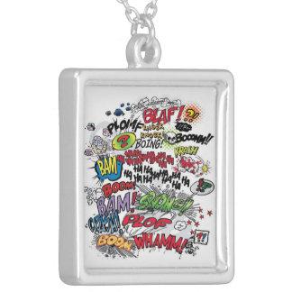 comic words cloud necklace