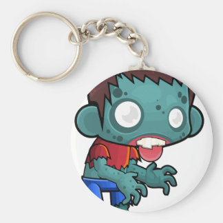Comic Zombie Boy Basic Round Button Key Ring