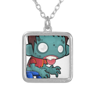 Comic Zombie Boy Silver Plated Necklace