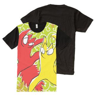 Comical funny quarrel cat Asian illustration All-Over Print T-Shirt