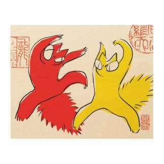 Comical funny quarrel cat Asian illustration Wood Wall Art
