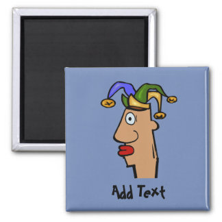 Comical mardi Gras jester, add text Magnet