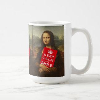 Comical Mona Lisa Says Keep Calm And Smile Mug