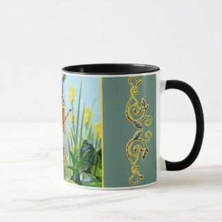comical mu with frog playing cello mug