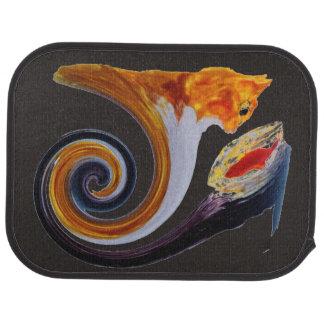 Comical Musical Abstract Ginger Cat Floor Mat