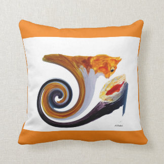 Comical Musical Abstract Ginger Cat Throw Pillow