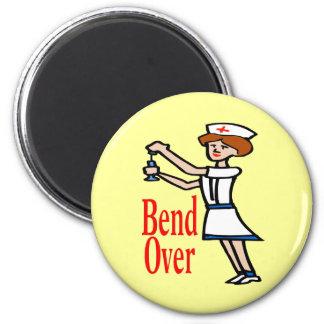 Comical Nurse Bend Over 6 Cm Round Magnet
