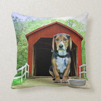 Comical Sandy Creek Covered Bridge Dog House Cushion