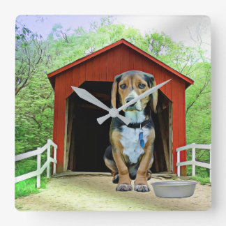 Comical Sandy Creek Covered Bridge Dog House Square Wall Clock