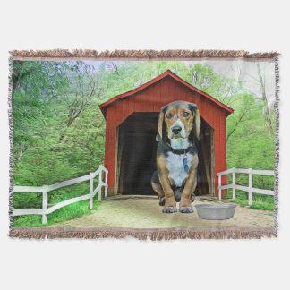 Comical Sandy Creek Covered Bridge Dog House Throw Blanket