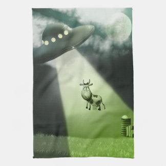 Comical UFO Cow Abduction Kitchen Towels