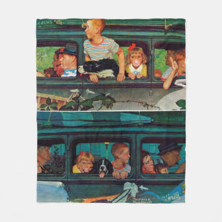 Coming and Going by Norman Rockwell Fleece Blanket