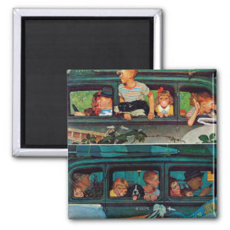 Coming and Going by Norman Rockwell Magnet