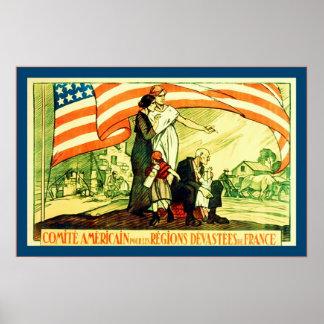 Comité Americain Vintage French World War 1 Print