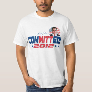 CoMITTed to Romney 2012 Grand Old Party Gear T Shirt