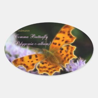 Comma Butterfly  (Polygonia c-album) Oval Sticker