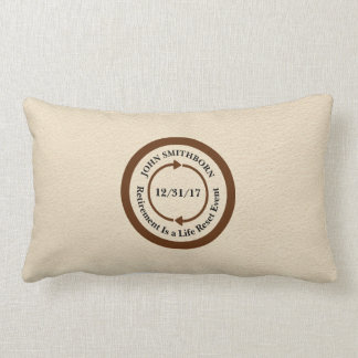 Commemorative Brown on Cream Retirement Keepsake Lumbar Cushion