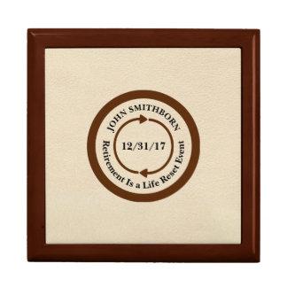 Commemorative Brown on Cream Retirement Large Square Gift Box
