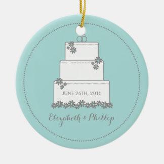 Commemorative Wedding Cake Ornament - Seafoam