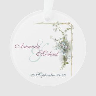 Commemorative wedding forget-me-nots ornament