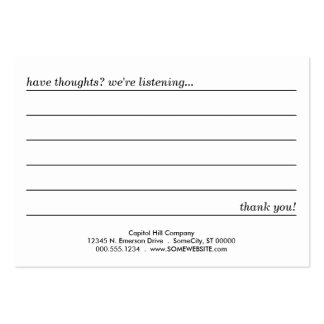 comment card business card template