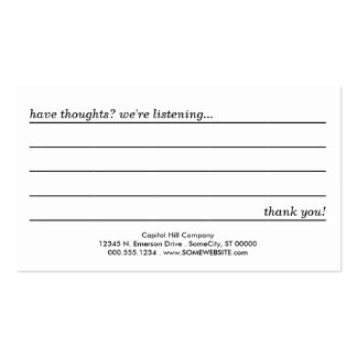 comment card business cards