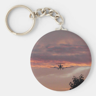 Commercial Jet Landing At Sunset Basic Round Button Key Ring