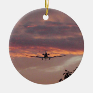 Commercial Jet Landing At Sunset Ceramic Ornament