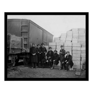 Commissary Clerks by a Railroad Car 1863 Poster