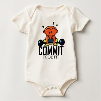 Commit to be fit Baby strength training Baby Bodysuit