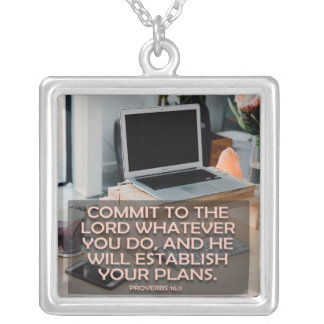 Commit To The Lord Whatever You Do Silver Plated Necklace