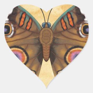 Common Buckeye Butterfly Heart Sticker