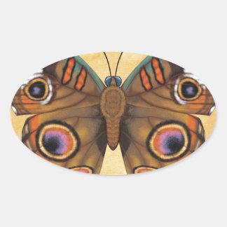 Common Buckeye Butterfly Oval Sticker
