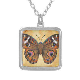 Common Buckeye Butterfly Silver Plated Necklace